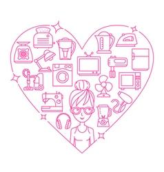Appliances love heart woman vector image