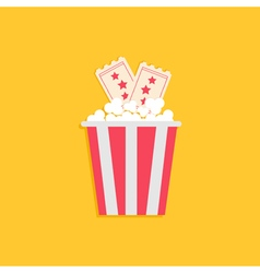Popcorn box and two tickets with stars cinema vector