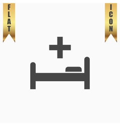 Hospital bed and cross icon vector