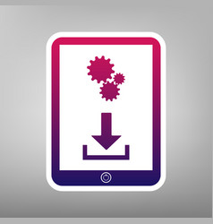Phone icon with settings symbol  purple vector