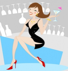 Girl drinking alcohol vector