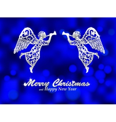 Merry christmas blue background with silver angel vector