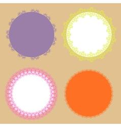 4 elegant lace border round labels vector