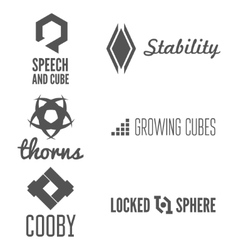 Set of abstract logo emblem label or logotype vector