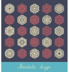set of 25 mandala design circle ornament vector image