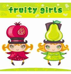 Fruity girls series 2 pomegranate pear vector