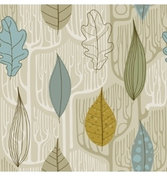 Seamless pattern with a stylized trees fall vector