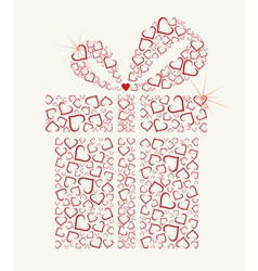 Happy valentines day gift with hearts vector