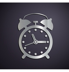 Flat metallic logo alarm clock vector