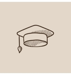 Graduation cap sketch icon vector