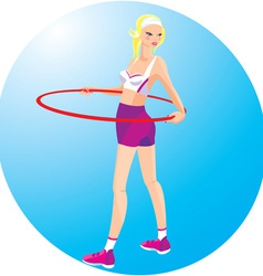 Beautiful blond girl with hoop vector