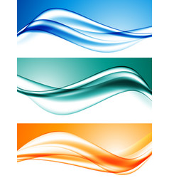 Abstract elegant dynamic wavy lines set vector