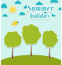 Abstract summer paper background with trees vector image vector image