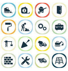 architecture icons set collection of equipment vector image vector image