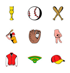 baseball uniform icons set cartoon style vector image
