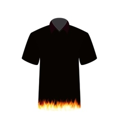 Black T-shirt with the Image of Fire vector image vector image