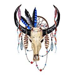 Bull skull feathers4 vector