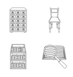 Cabinet with filing cabinet chair shelves vector