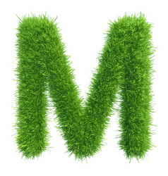 Capital letter m from grass on white vector