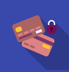 Credit card security icon in flat style isolated vector