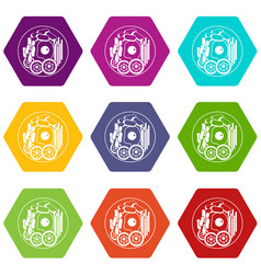 Dish of korean food icon set color hexahedron vector