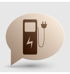 Electric car charging station sign brown gradient vector
