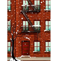 Fire escape on the apartment building vector