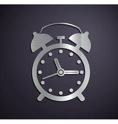 Flat metallic logo alarm clock vector