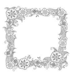 Floral hand drawn square frame in zentangle style vector image