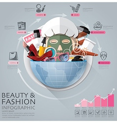 Global beauty and fashion infographic with round vector