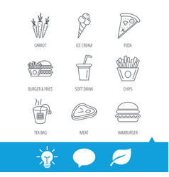 Hamburger pizza and soft drink icons tea bag vector