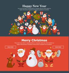 happy new year 2018 or christmas santa snowman vector image