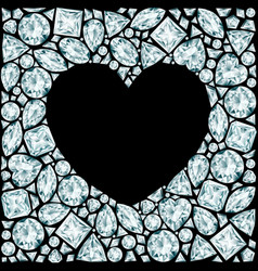 Heart frame made of diamonds on black background vector
