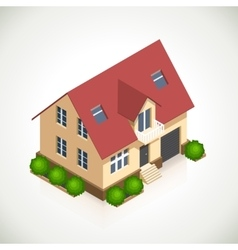 House 3d icon with green bushes vector