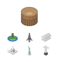 Isometric travel set of india mosque athens new vector