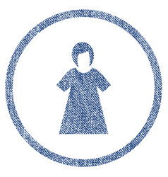 lady figure rounded fabric textured icon vector image vector image