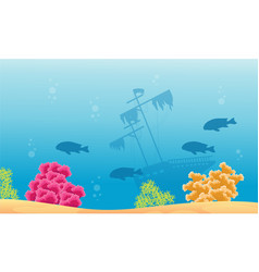 Landscape of underwater with ship and reef vector