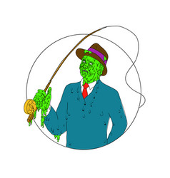 Mobster fisherman fly rod reel grime art vector