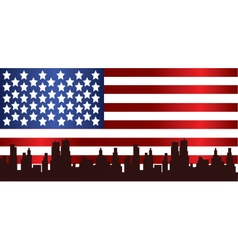 Patriot day with usa flag and city vector