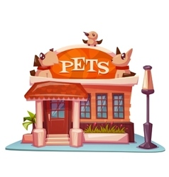 Pet shop building with bright banner vector
