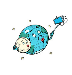 Planet earth and moon couple taking selfie vector