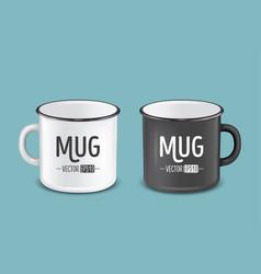 Realistic enamel metal white and black mugs vector