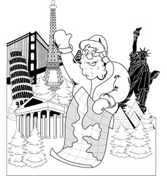Santa Claus with map vector image vector image
