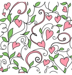Seamless background with hearts ornament vector image