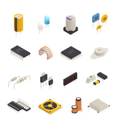 semiconductor electronic components isometric set vector image vector image