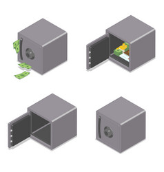 Set of isometric safe boxes isolated on white vector