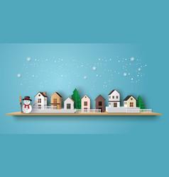 snow man in the village vector image
