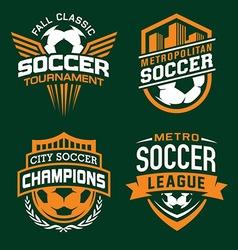 Soccer sport emblem set vector image