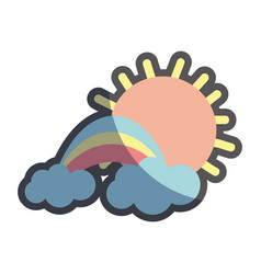 Sun with cloud and beuty rainbow weather vector