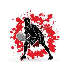 Tennis player action man play tennis vector